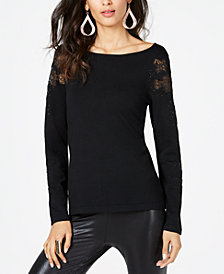 Thalia Sodi Peekaboo Lace Sweater, Created for Macy's