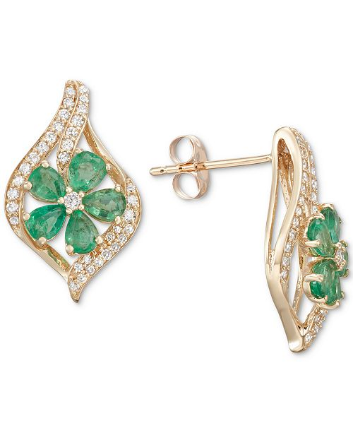 Macy's Emerald (1-1/2 ct. t.w.) & Diamond (1/3 ct. t.w.) Stud Earrings (Also in Sapphire, Tanzanite & Certified Ruby)