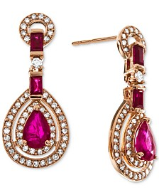 Certified Ruby (1-1/2 ct. t.w.) & Diamond (1/2 ct. t.w.) Drop Earrings (Also in Sapphire)