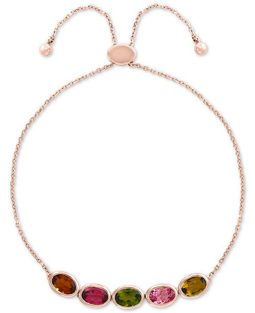 EFFY Collection EFFY® Multi-Tourmaline Bolo Bracelet (2-3/8 ct. t.w.) in 14k Rose Gold