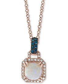 "EFFY® Opal (1-1/2 ct. t.w.) & Diamond (1/5 ct. t.w.) 18"" Pendant Necklace in 14k Rose Gold"