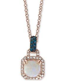 "EFFY® Opal (1-1/2 ct. t.w.) & Diamond (1/5 ct. t.w.) 18"" Pendant Necklace in 14k Rose Gold"