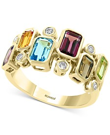 EFFY® Multi-Gemstone (2-3/8 ct .t.w.) & Diamond (1/6 ct. t.w.) Ring in 14k Gold