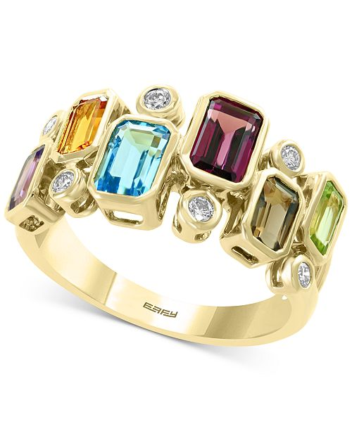EFFY Collection EFFY® Multi-Gemstone (2-3/8 ct .t.w.) & Diamond (1/6 ct. t.w.) Ring in 14k Gold