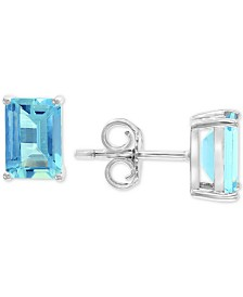 EFFY® Aquamarine Stud Earrings (1-9/10 ct. t.w.) in 14k White Gold