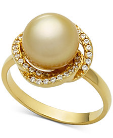 Cultured Golden South Sea Pearl (9mm) & Diamond (1/5ct. t.w.) Ring in 14k Gold
