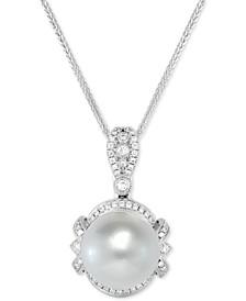 "Cultured White South Sea Pearl (12mm) & Diamond (1/4 ct. t.w.) 18"" Pendant Necklace in 14k White Gold"