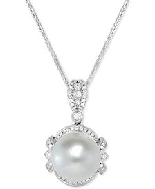 "Cultured White South Sea Pearl (12mm) & Diamond (1/4 ct. t.w.) 18"" Pendant Necklace in 14k White Gold"