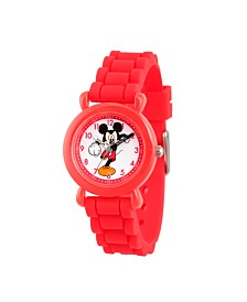 Disney Mickey Mouse Boys' Red Plastic Time Teacher Watch