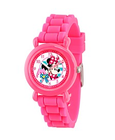 Disney Minnie Mouse Girls' Pink Plastic Time Teacher Watch