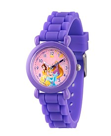 Disney Princess Cinderella, Belle and Rapunzel Girls' Purple Plastic Time Teacher Watch