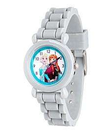 Disney Frozen Elsa & Anna Girls' Grey Plastic Time Teacher Watch