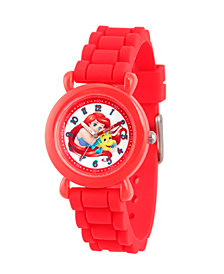 Disney Princess Ariel Girls' Red Plastic Time Teacher Watch