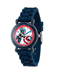Marvel's Avengers: Captain America Boys' Blue Plastic Time Teacher Watch