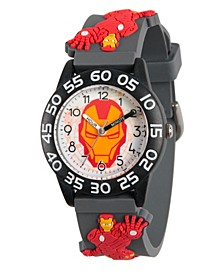 Marvel's Avengers: Iron Man Boys' Black Plastic Time Teacher Watch