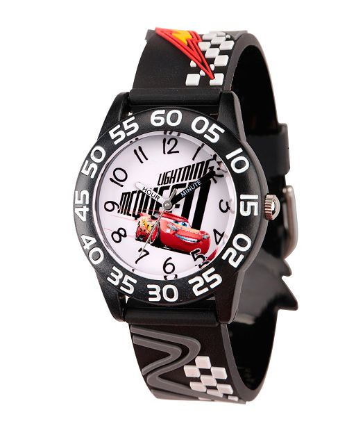 ewatchfactory Disney Cars 3 Lightning McQueen Boys' Black Plastic Time Teacher Watch