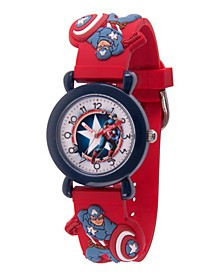Marvel Avenger Assemble Captain America Boys' Blue Plastic Time Teacher Watch