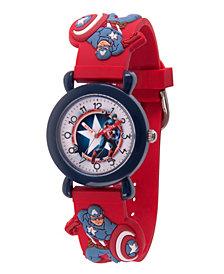 Marvel Avenger Assemble Captain America Boys' Blue Plastic Time Teacher Watch