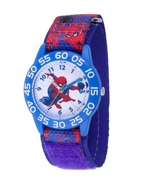 ewatchfactory Marvel Spider-Man Boys' Blue Plastic Time Teacher Watch