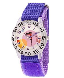 Disney The Incredibles 2 Violet Parr Girls' Clear Plastic Time Teacher Watch