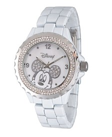 Disney Mickey Mouse Women's White Enamel Sparkle Alloy Watch