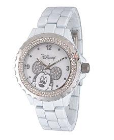 Disney Mickey Mouse Women's White Enamel Sparkle Alloy Watch