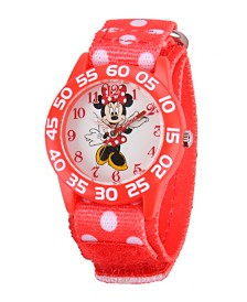 Disney Minnie Mouse Girls' Red Plastic Time Teacher Watch