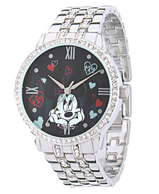 Disney Minnie Mouse Silver Alloy Watch With Glitz