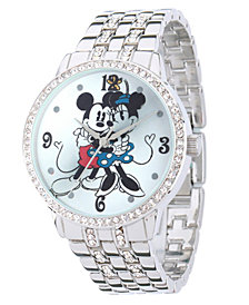 Disney Minnie Mouse & Mickey Mouse Women's Silver Alloy Watch With Glitz