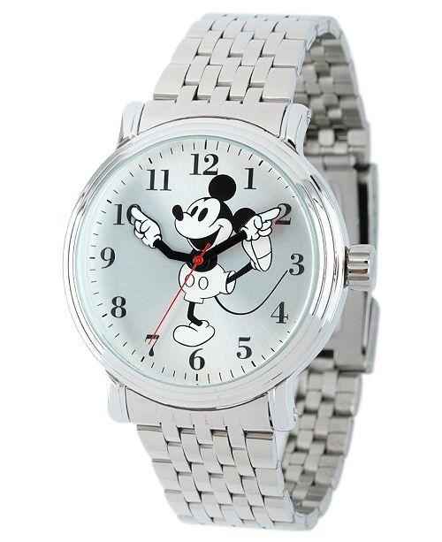 ewatchfactory Disney Mickey Mouse Men's Shiny Silver Vintage Alloy Watch