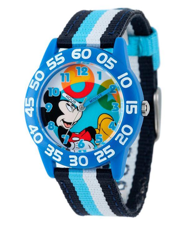 ewatchfactory Disney Mickey Mouse Boys' Blue Plastic Time Teacher Watch