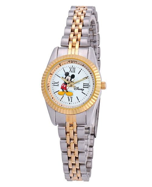 ewatchfactory Disney Mickey Mouse Women's Two Tone Silver and Gold Alloy Watch