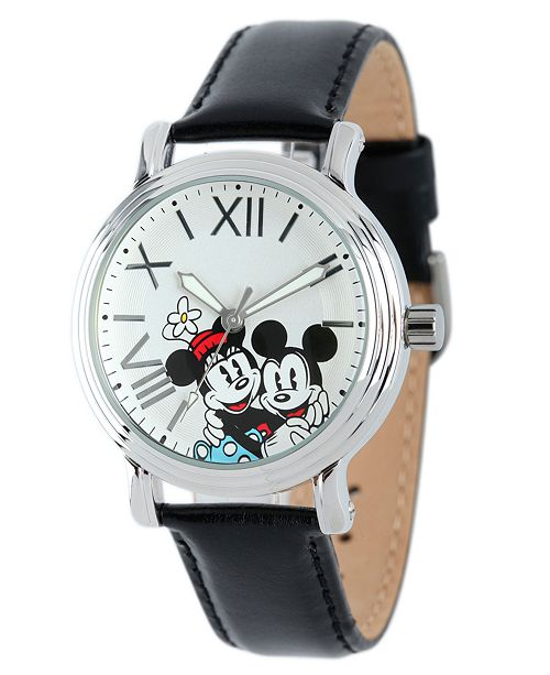 ewatchfactory Disney Mickey Mouse & Minnie Mouse Women's Shiny Silver Vintage Alloy Watch
