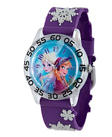Disney Frozen Anna and Elsa Girls' Plastic Time Teacher Watch