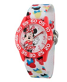 Disney Minnie Mouse Girls' Red Plastic Time Teacher Watch