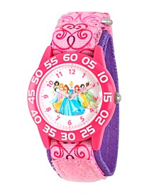 Disney Princess Jasmine, Sleeping Beauty, Belle, Cinderella, Ariel, Snow White and Tiana Girls' Pink Plastic Time Teacher Watch