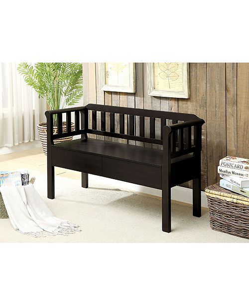 Benzara Slatted Pattern Wooden Bench With 2 Under Seat Drawers Reviews Furniture Macy S