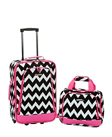 Rockland 2-Piece Pink Chevron Luggage Set