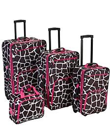 4PCE Pink Giraffe Softside Luggage Set