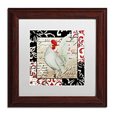 Color Bakery 'Europa White Rooster' Matted Framed Art