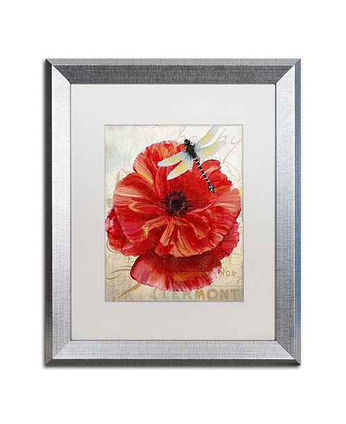 """Trademark Global Color Bakery 'Le Pavot Dragonfly' Matted Framed Art, 16"""" x 20"""""""