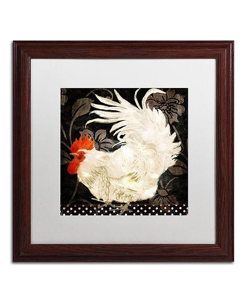 """Trademark Global Color Bakery 'Rooster Damask I' Matted Framed Art, 16"""" x 16"""""""