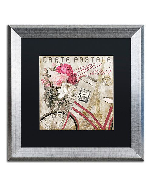 "Trademark Global Color Bakery 'Postale Paris I' Matted Framed Art, 16"" x 16"""