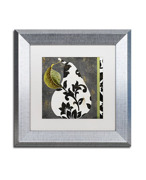 "Trademark Global Color Bakery 'Decorative Pear I' Matted Framed Art, 11"" x 11"""