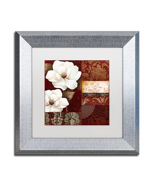 "Trademark Global Color Bakery 'Flores Blancas Iii' Matted Framed Art, 11"" x 11"""