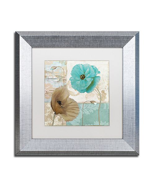 "Trademark Global Color Bakery 'Beach Poppies Iv' Matted Framed Art, 11"" x 11"""