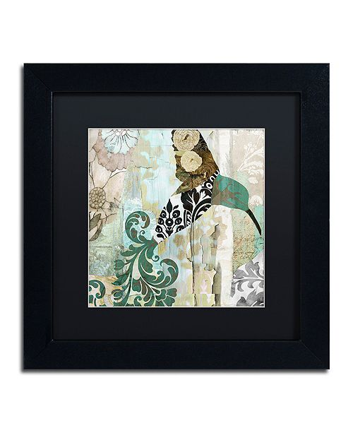 "Trademark Global Color Bakery 'Hummingbird Batik I' Matted Framed Art, 11"" x 11"""