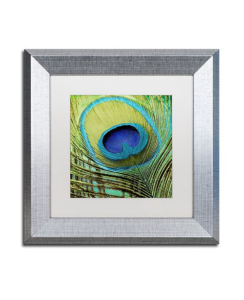 "Trademark Global Color Bakery 'Peacock Candy V' Matted Framed Art, 11"" x 11"""
