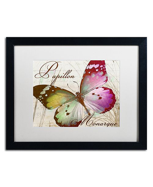 "Trademark Global Color Bakery 'Papillon Ii' Matted Framed Art, 16"" x 20"""