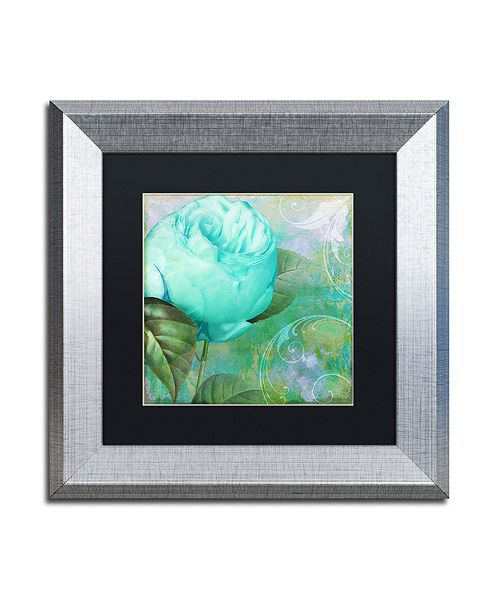 "Trademark Global Color Bakery 'Aqua Rose I' Matted Framed Art, 11"" x 11"""